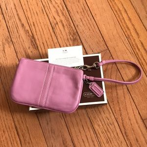 Coach Pink Leather Wristlet NWOT